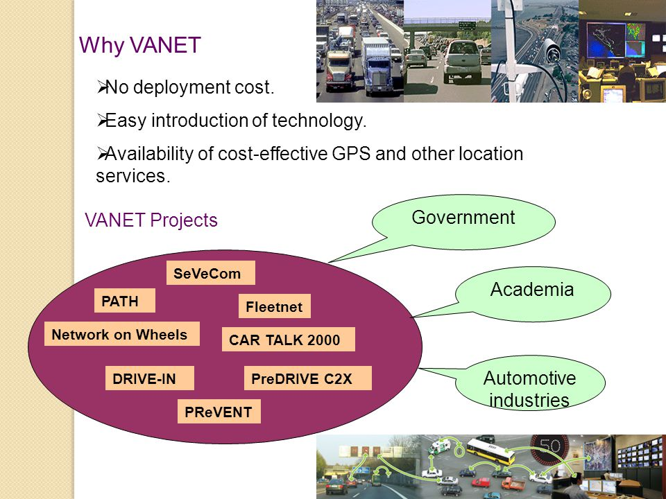 VANET Projects Why VANET  No deployment cost.  Easy introduction of technology.  Availability of cost-effective GPS and other location services. Ac