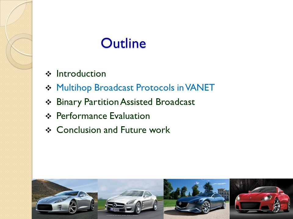 Outline  Introduction  Multihop Broadcast Protocols in VANET  Binary Partition Assisted Broadcast  Performance Evaluation  Conclusion and Future