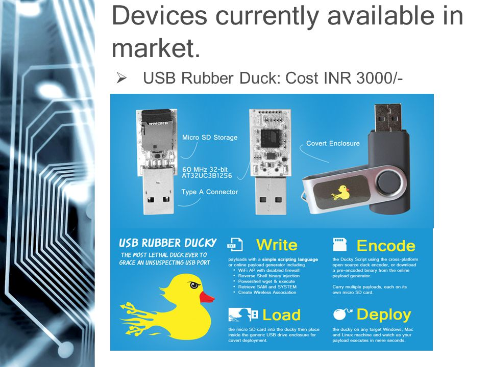 Devices currently available in market.  USB Rubber Duck: Cost INR 3000/-