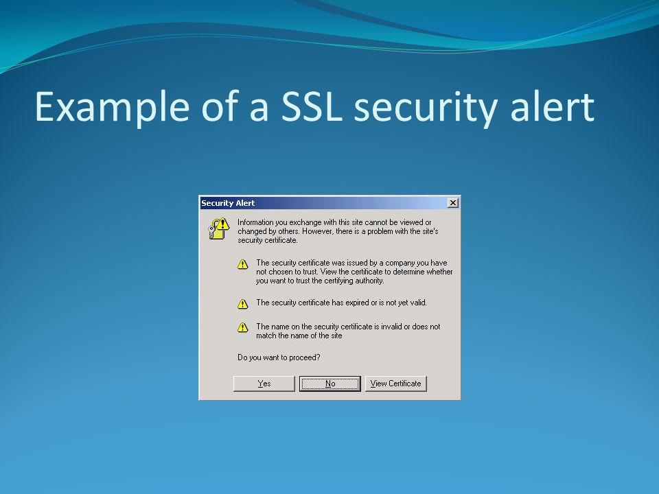 Example of a SSL security alert