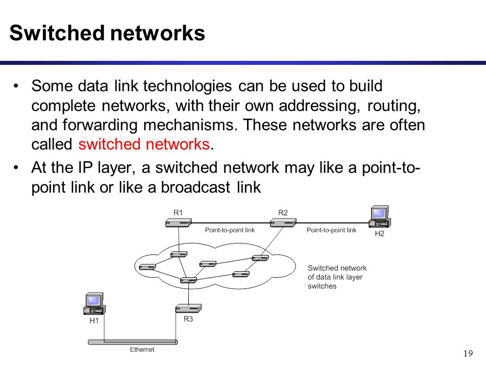 19 Switched networks Some data link technologies can be used to build complete networks, with their own addressing, routing, and forwarding mechanisms