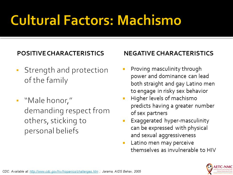 POSITIVE CHARACTERISTICS NEGATIVE CHARACTERISTICS  Proving masculinity through power and dominance can lead both straight and gay Latino men to engag