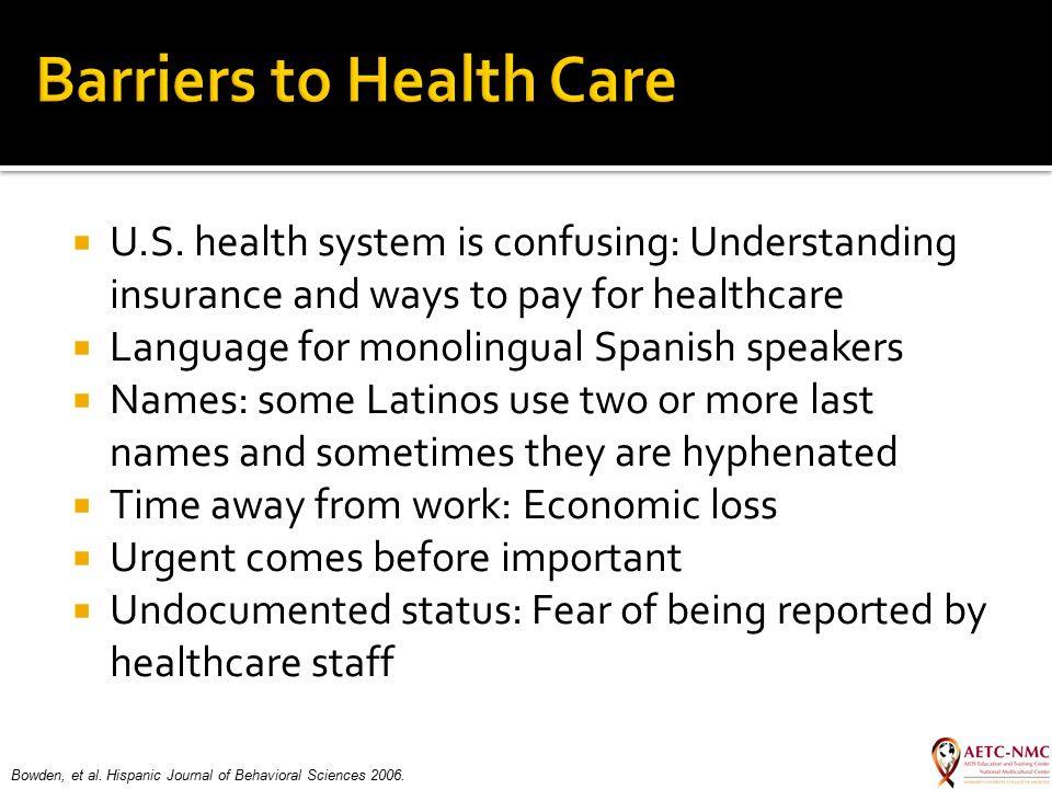  U.S. health system is confusing: Understanding insurance and ways to pay for healthcare  Language for monolingual Spanish speakers  Names: some La