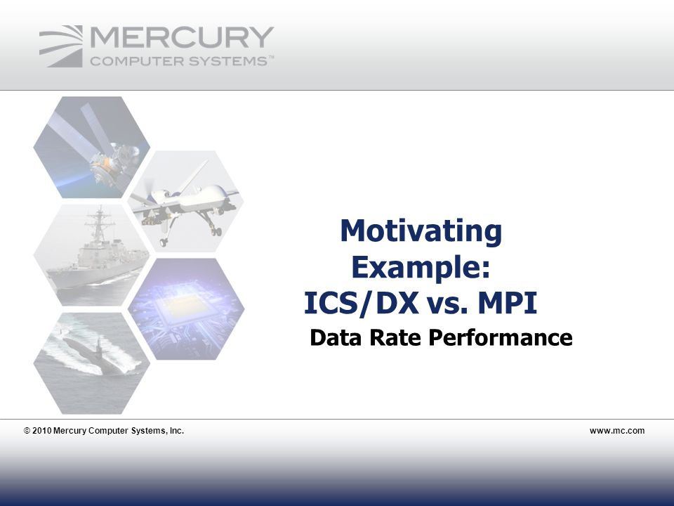© 2010 Mercury Computer Systems, Inc.www.mc.com 20 Motivating Example: ICS/DX vs.