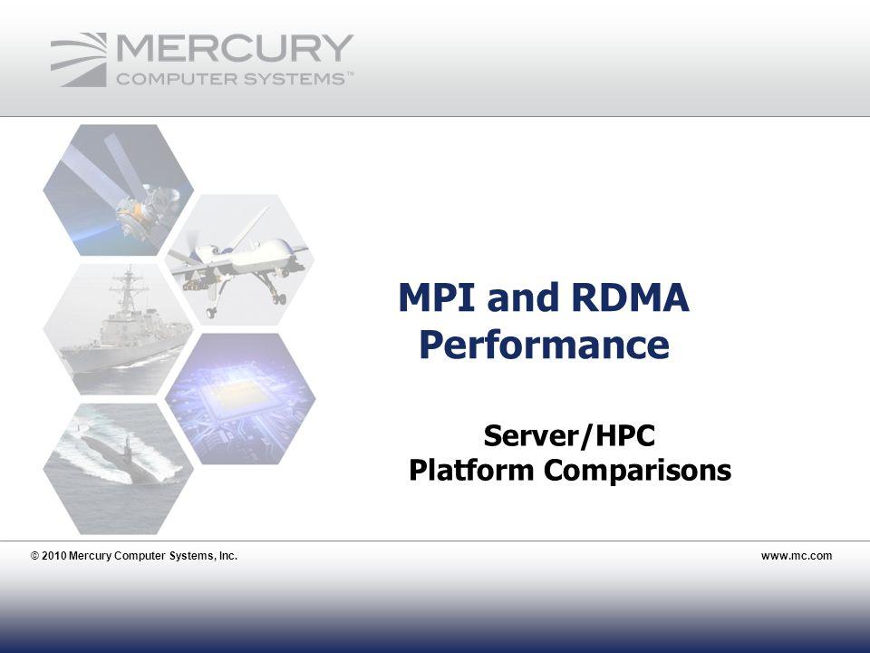 © 2010 Mercury Computer Systems, Inc.www.mc.com 26 MPI and RDMA Performance © 2010 Mercury Computer Systems, Inc.www.mc.com Server/HPC Platform Compar