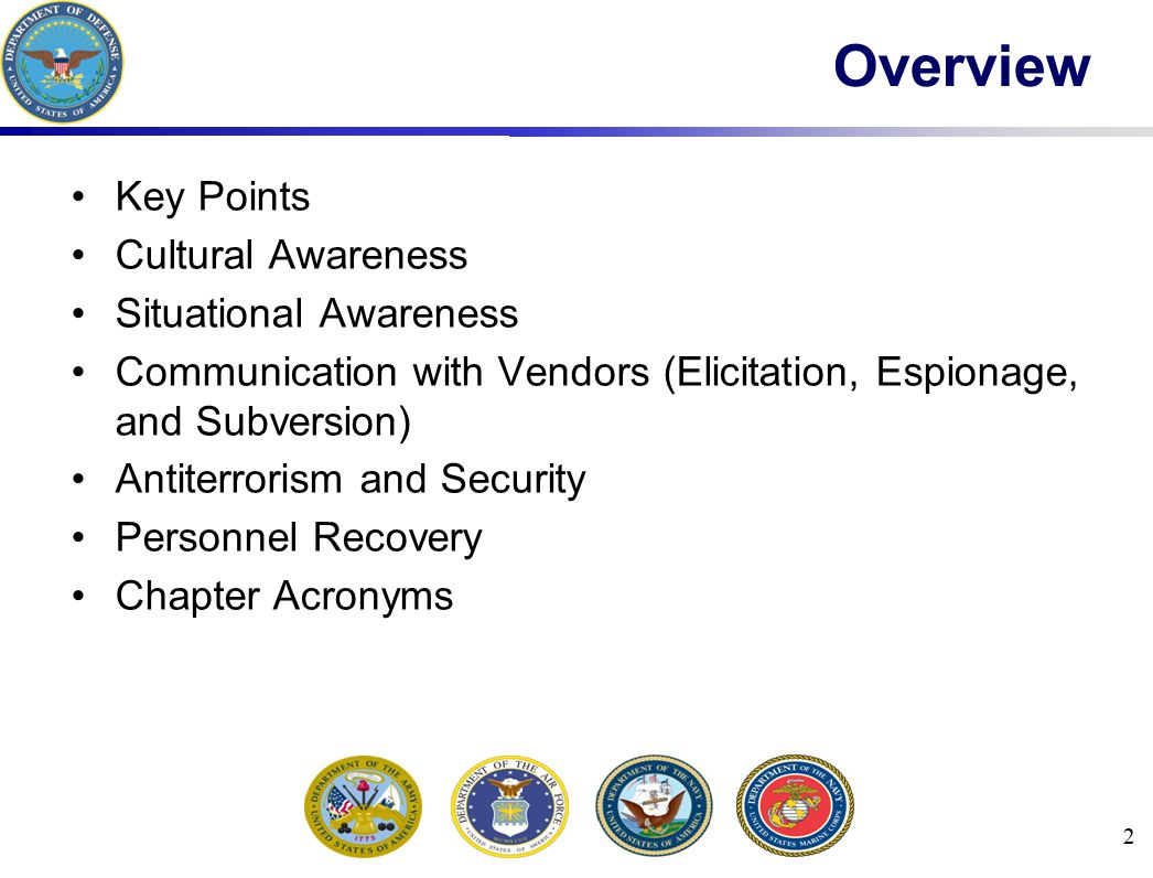 2 Overview Key Points Cultural Awareness Situational Awareness Communication with Vendors (Elicitation, Espionage, and Subversion) Antiterrorism and Security Personnel Recovery Chapter Acronyms