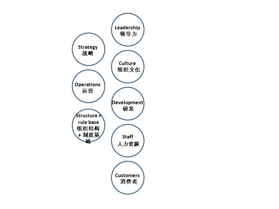 Structure + rule base 组织结构 +制度基 础 Operations 运营 Customers 消费者 Leadership 领导力 Culture 组织文化 Strategy 战略 Staff 人力资源 Development 研发