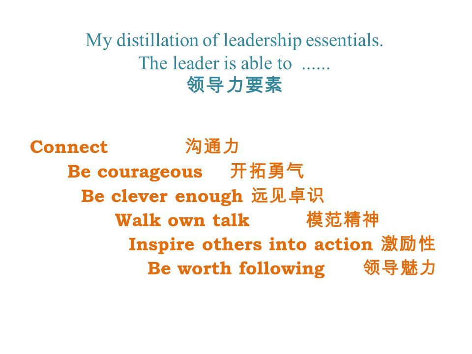 My distillation of leadership essentials. The leader is able to......