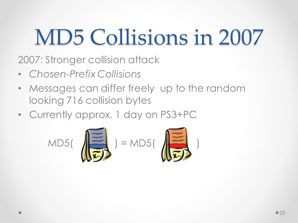 MD5 Collisions in 2007 2007: Stronger collision attack Chosen-Prefix Collisions Messages can differ freely up to the random looking 716 collision bytes Currently approx.
