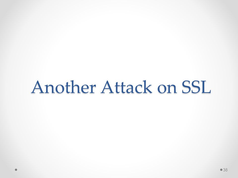 Another Attack on SSL 38