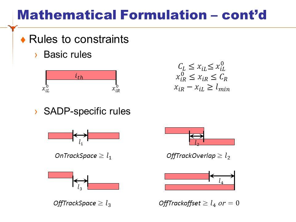 Mathematical Formulation – cont'd  SADP-specific rules ›Case 1 ›Case 2 ›Case 3
