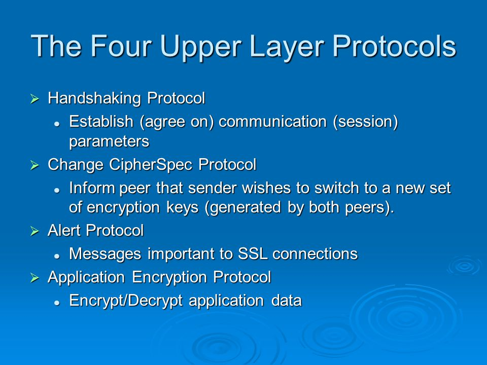 The Four Upper Layer Protocols  Handshaking Protocol Establish (agree on) communication (session) parameters Establish (agree on) communication (session) parameters  Change CipherSpec Protocol Inform peer that sender wishes to switch to a new set of encryption keys (generated by both peers).