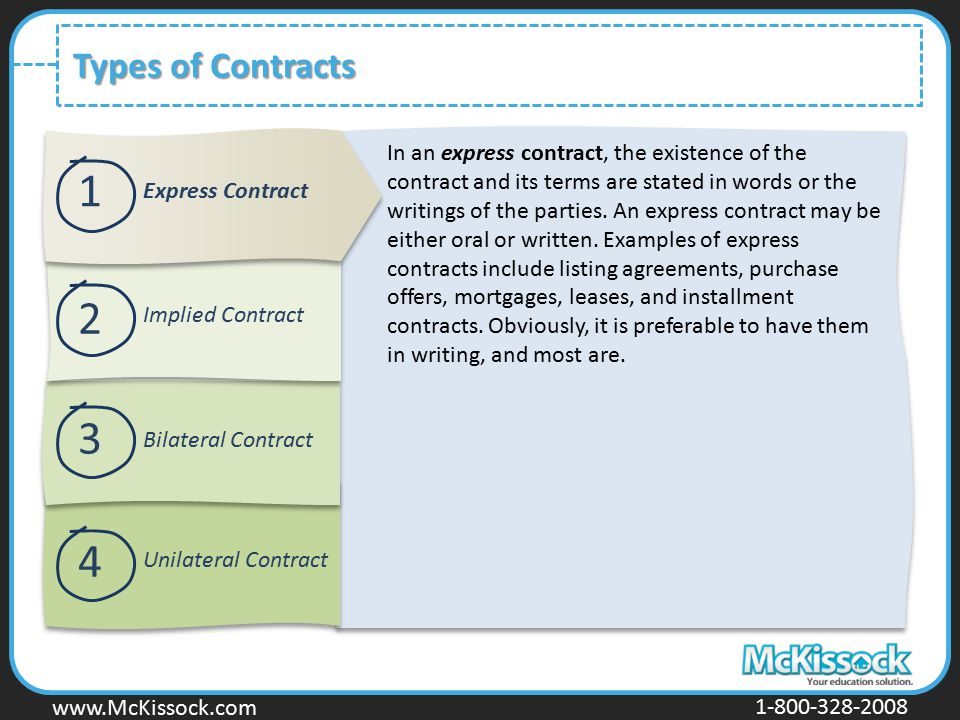 www.Mckissock.com www.McKissock.com 1-800-328-2008 Types of Contracts 1 2 3 4 Express Contract Implied Contract Bilateral Contract Unilateral Contract