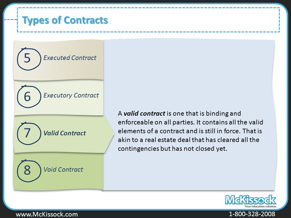 www.Mckissock.com www.McKissock.com 1-800-328-2008 Types of Contracts A valid contract is one that is binding and enforceable on all parties. It conta