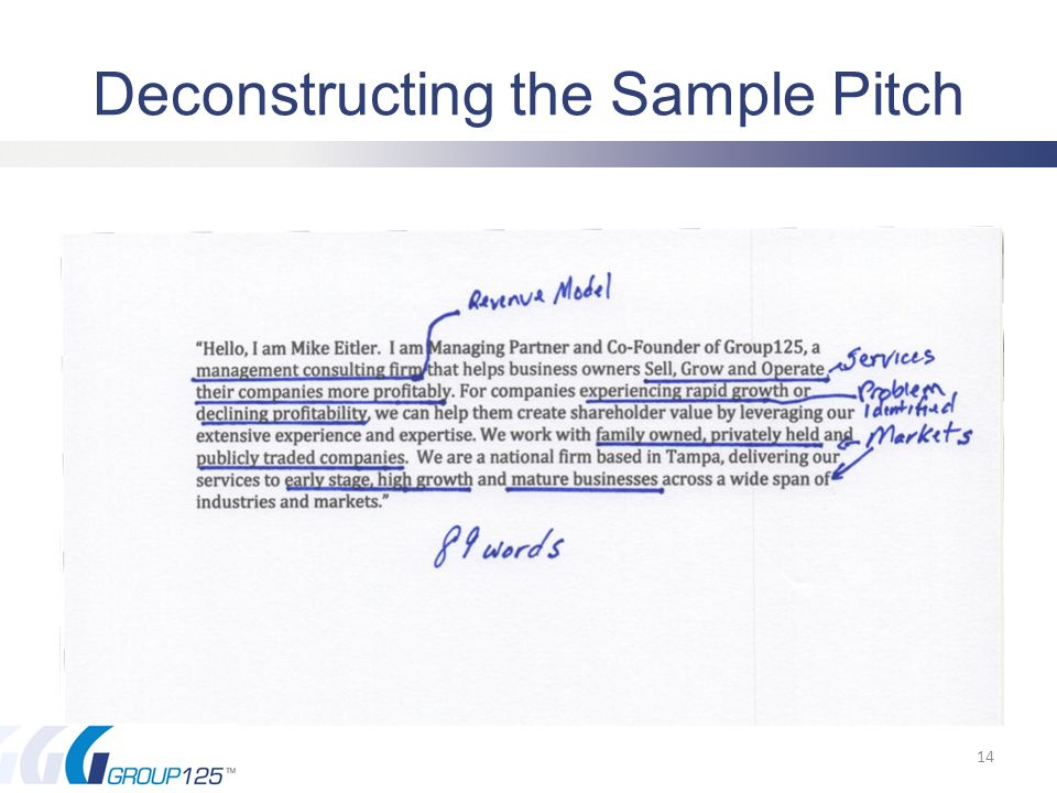 Deconstructing the Sample Pitch 14