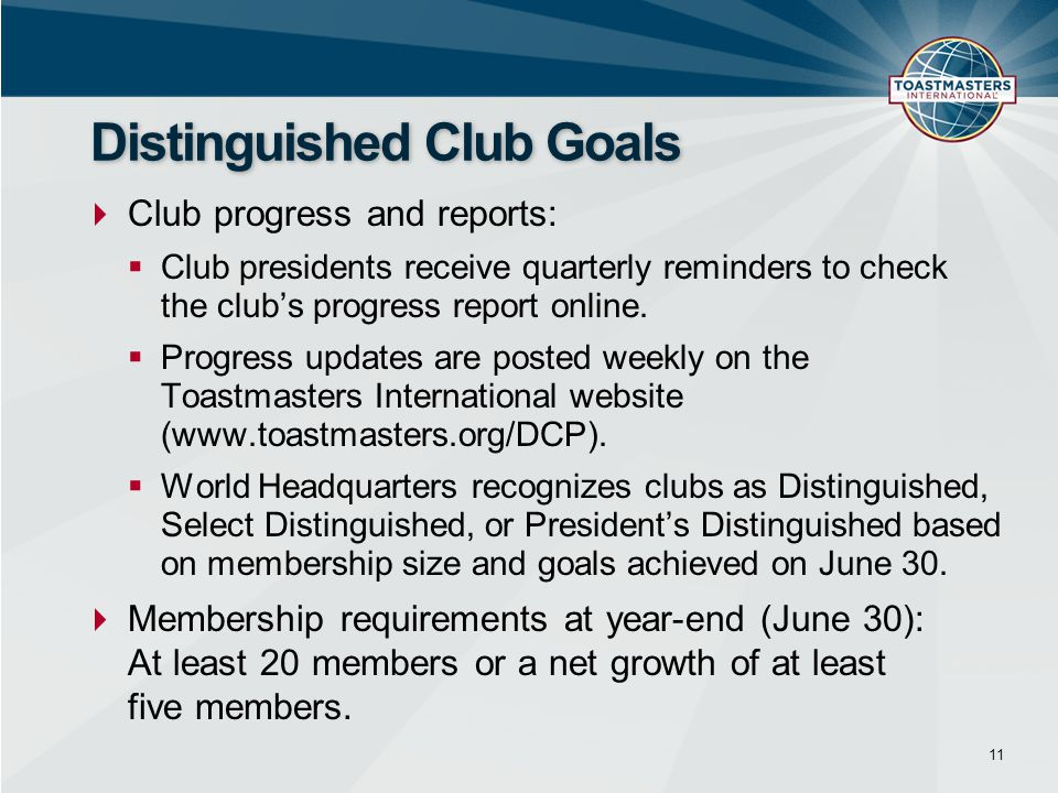  Club progress and reports:  Club presidents receive quarterly reminders to check the club's progress report online.  Progress updates are posted w