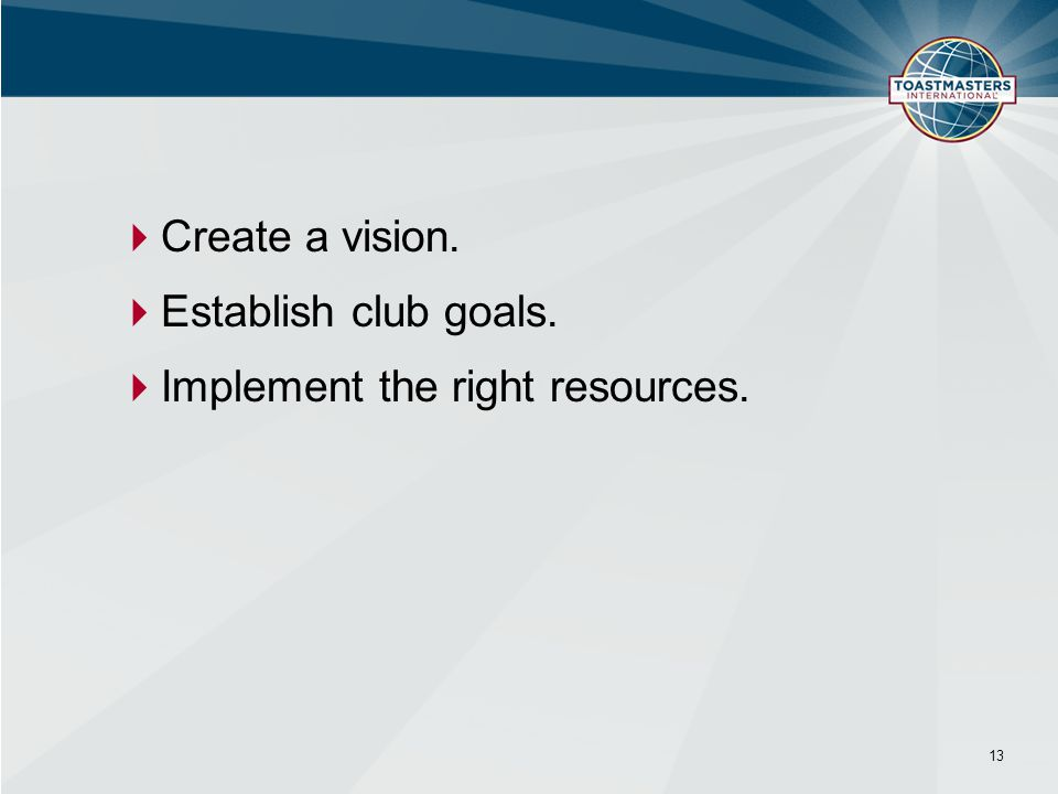  Create a vision.  Establish club goals.  Implement the right resources. 13