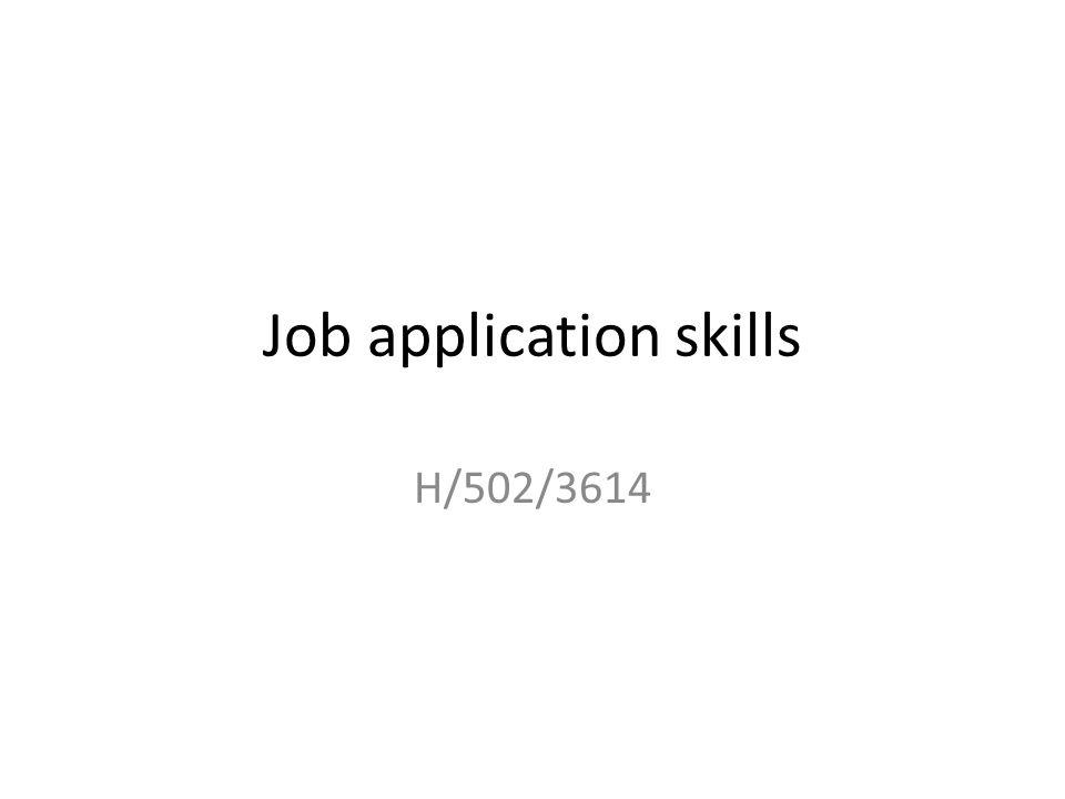 Job application skills H/502/3614