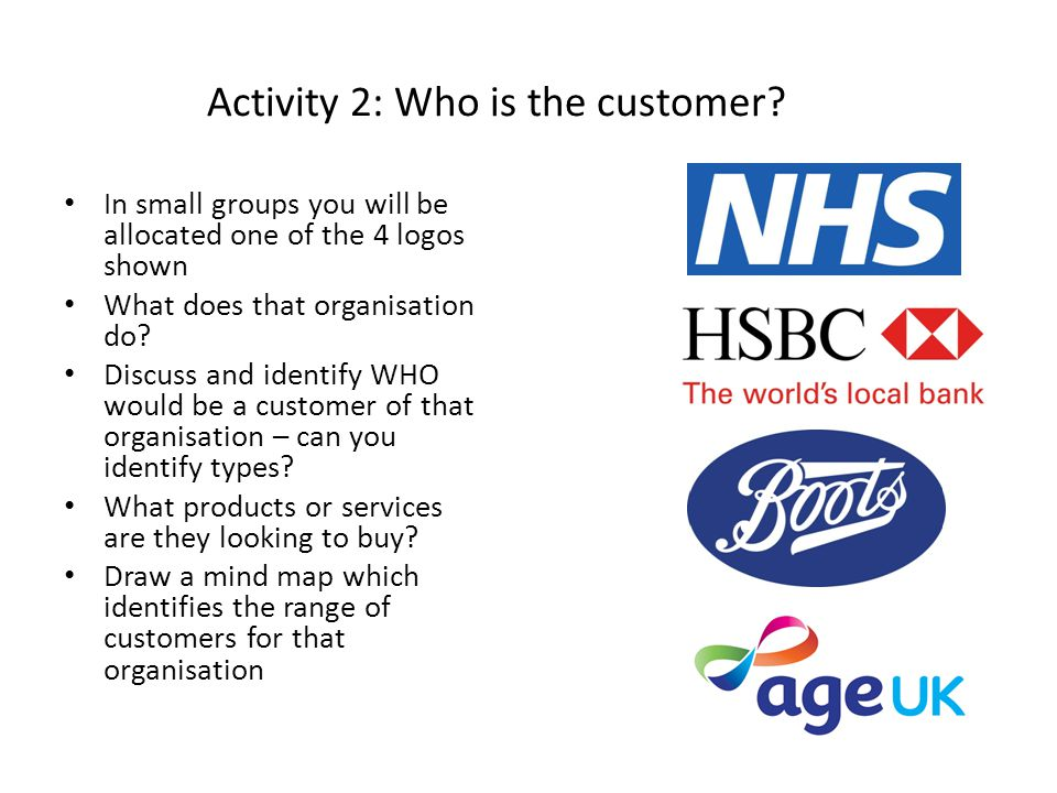 Activity 2: Who is the customer.