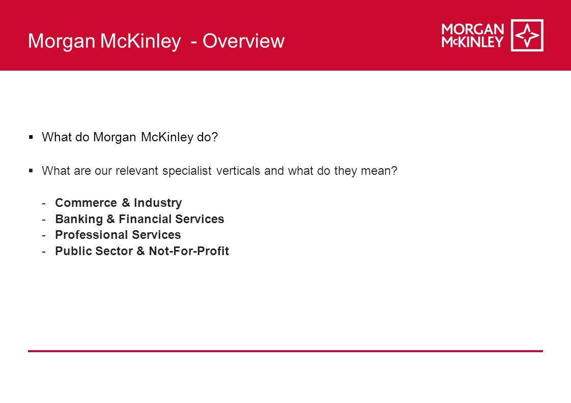 Morgan McKinley - Overview  What do Morgan McKinley do.