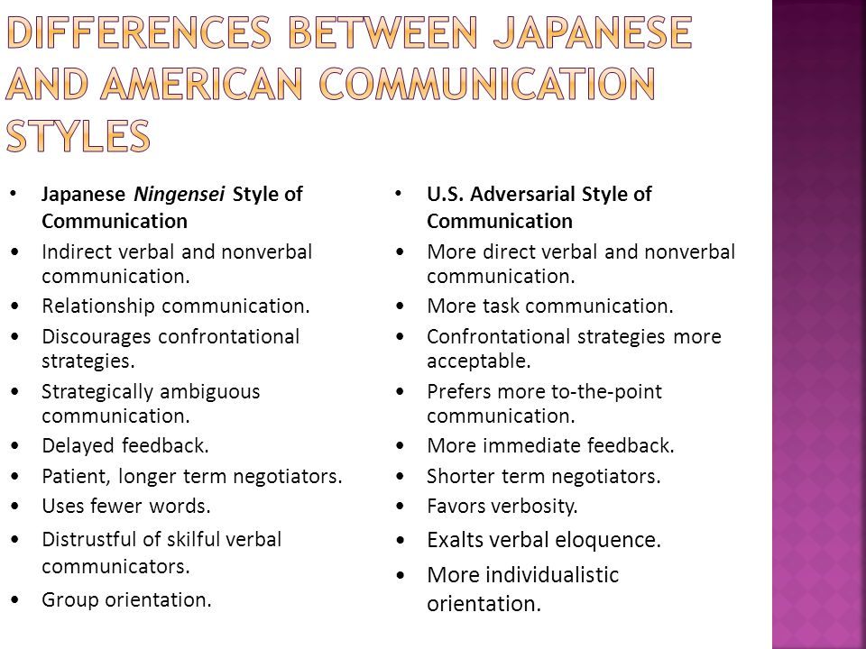 Japanese Ningensei Style of Communication Indirect verbal and nonverbal communication.