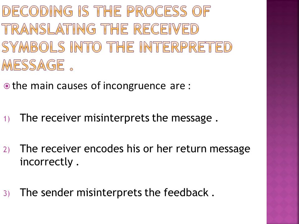 the main causes of incongruence are : 1) The receiver misinterprets the message.