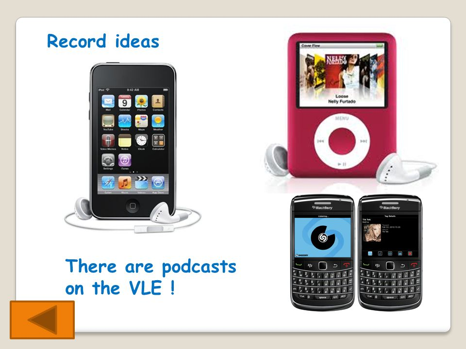 Record ideas There are podcasts on the VLE !