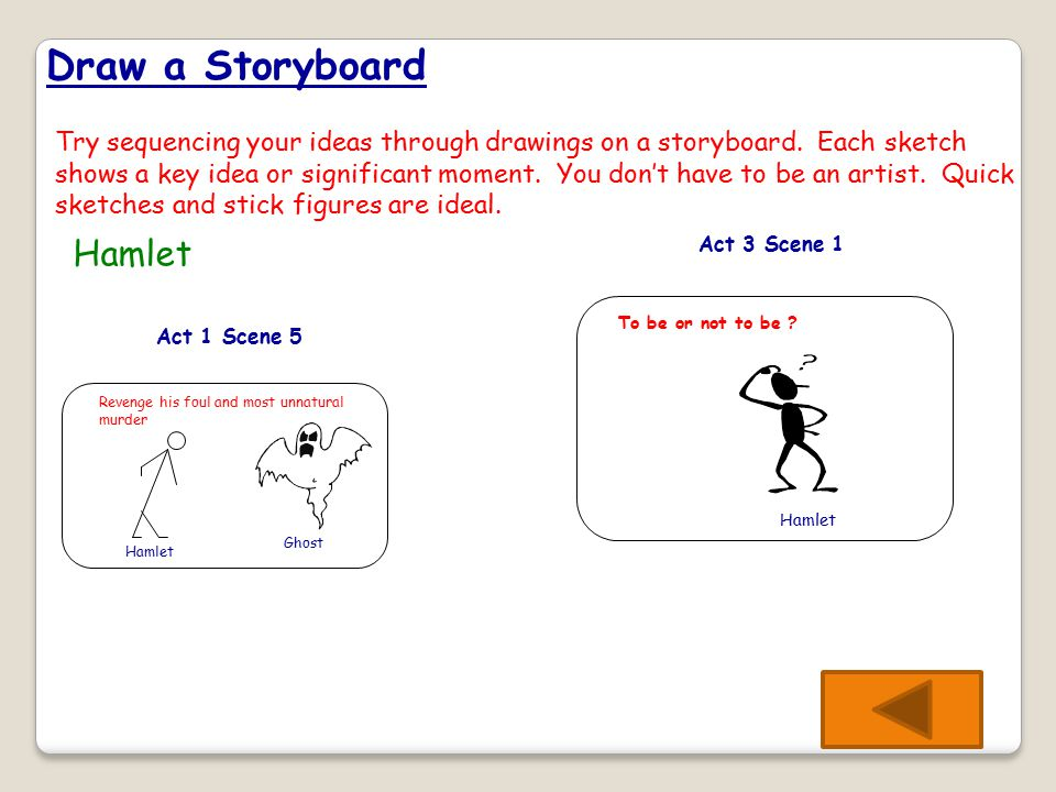 Draw a Storyboard Try sequencing your ideas through drawings on a storyboard.