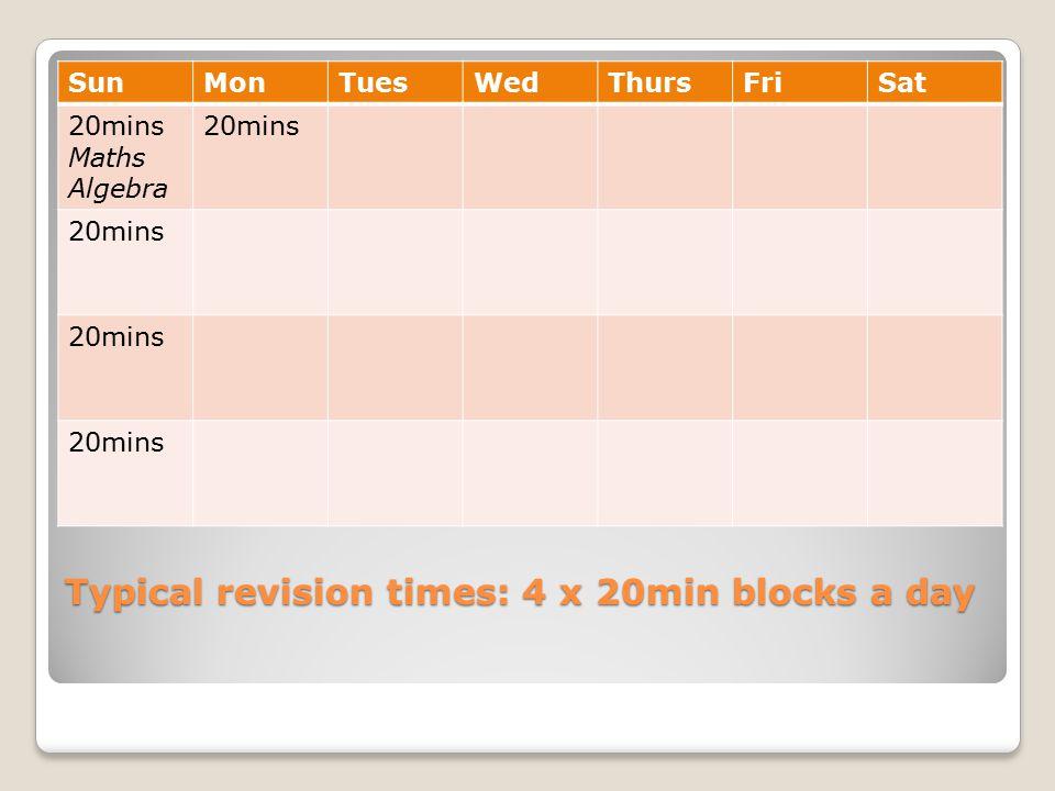Typical revision times: 4 x 20min blocks a day SunMonTuesWedThursFriSat 20mins Maths Algebra 20mins