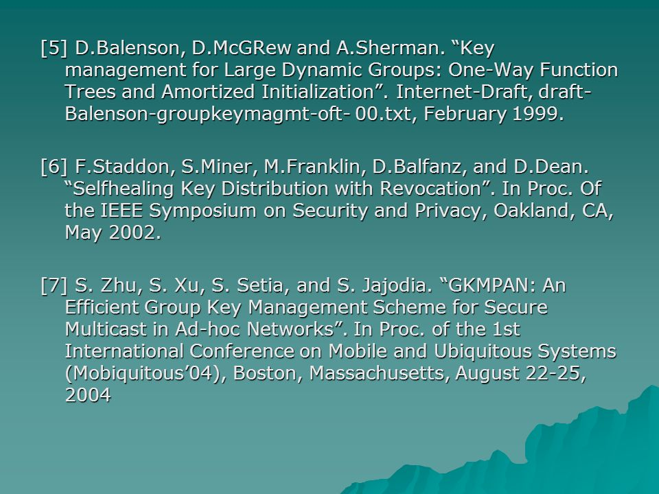 [5] D.Balenson, D.McGRew and A.Sherman.