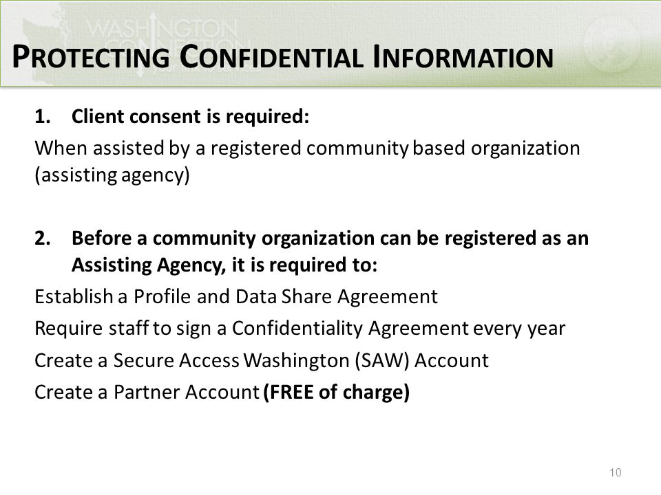 10 1.Client consent is required: When assisted by a registered community based organization (assisting agency) 2.Before a community organization can b