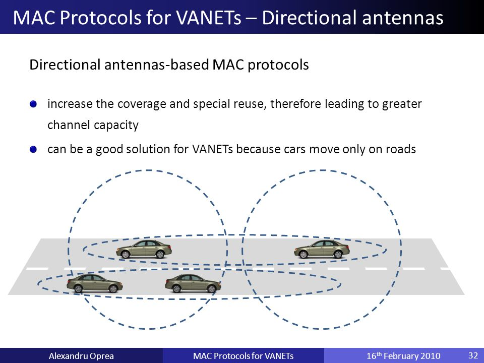 Directional antennas-based MAC protocols increase the coverage and special reuse, therefore leading to greater channel capacity can be a good solution for VANETs because cars move only on roads MAC Protocols for VANETsAlexandru Oprea16 th February 2010 MAC Protocols for VANETs – Directional antennas 32