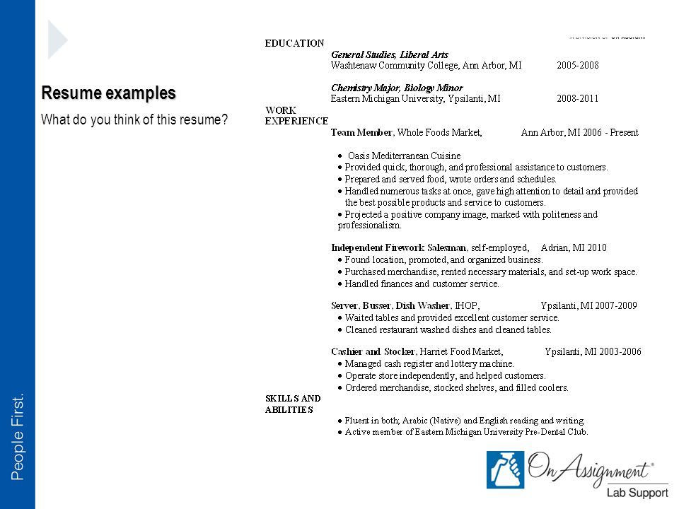 Resume examples What do you think of this resume