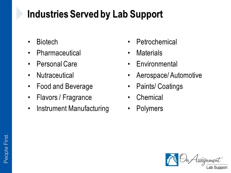 Industries Served by Lab Support Biotech Pharmaceutical Personal Care Nutraceutical Food and Beverage Flavors / Fragrance Instrument Manufacturing Petrochemical Materials Environmental Aerospace/ Automotive Paints/ Coatings Chemical Polymers