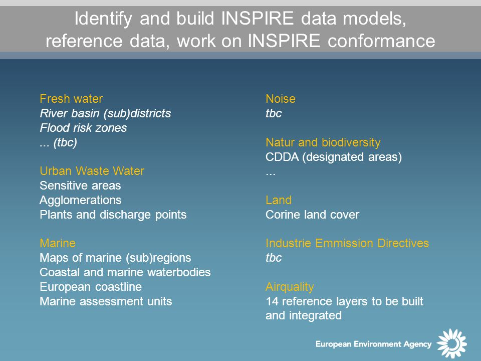 Identify and build INSPIRE data models, reference data, work on INSPIRE conformance Fresh water River basin (sub)districts Flood risk zones...