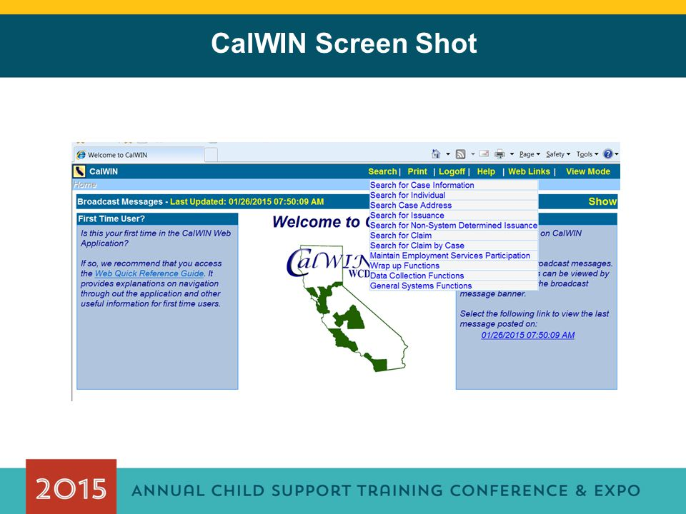 CalWIN Screen Shot
