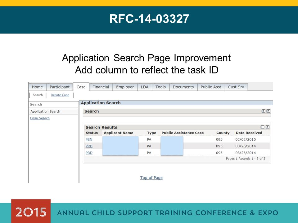 RFC-14-03327 Application Search Page Improvement Add column to reflect the task ID