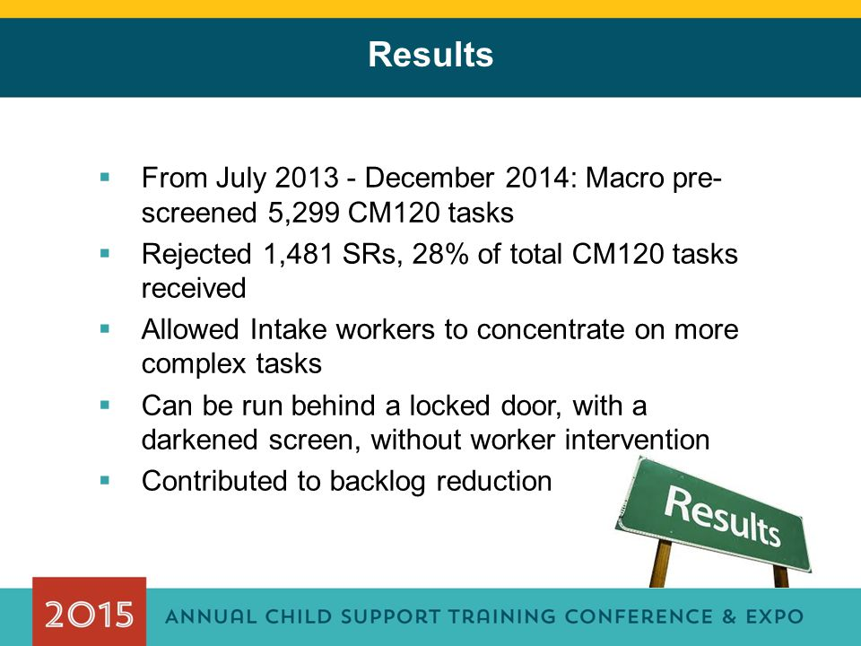 Results  From July 2013 - December 2014: Macro pre- screened 5,299 CM120 tasks  Rejected 1,481 SRs, 28% of total CM120 tasks received  Allowed Inta