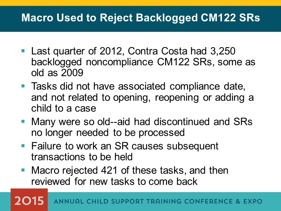 Macro Used to Reject Backlogged CM122 SRs  Last quarter of 2012, Contra Costa had 3,250 backlogged noncompliance CM122 SRs, some as old as 2009  Tas