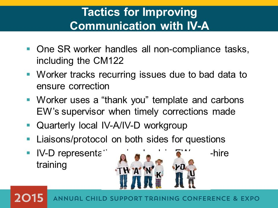 Tactics for Improving Communication with IV-A  One SR worker handles all non-compliance tasks, including the CM122  Worker tracks recurring issues d