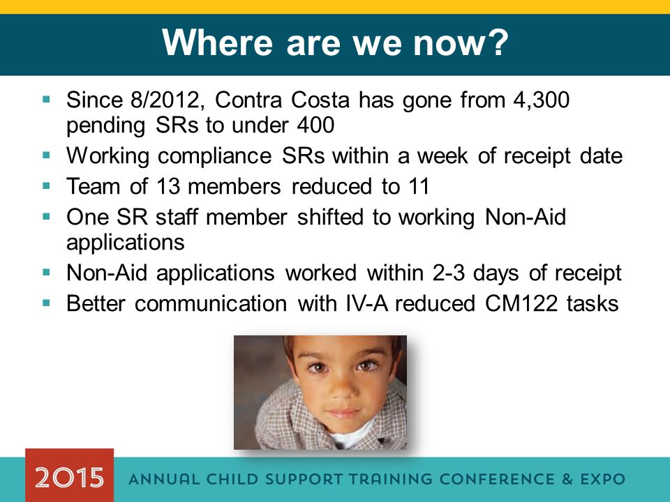 Where are we now?  Since 8/2012, Contra Costa has gone from 4,300 pending SRs to under 400  Working compliance SRs within a week of receipt date  T
