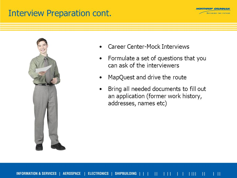 Interview Preparation cont. Career Center-Mock Interviews Formulate a set of questions that you can ask of the interviewers MapQuest and drive the rou