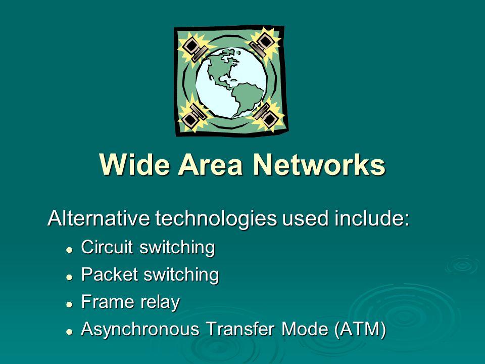 Wide Area Networks Alternative technologies used include: Alternative technologies used include: Circuit switching Circuit switching Packet switching