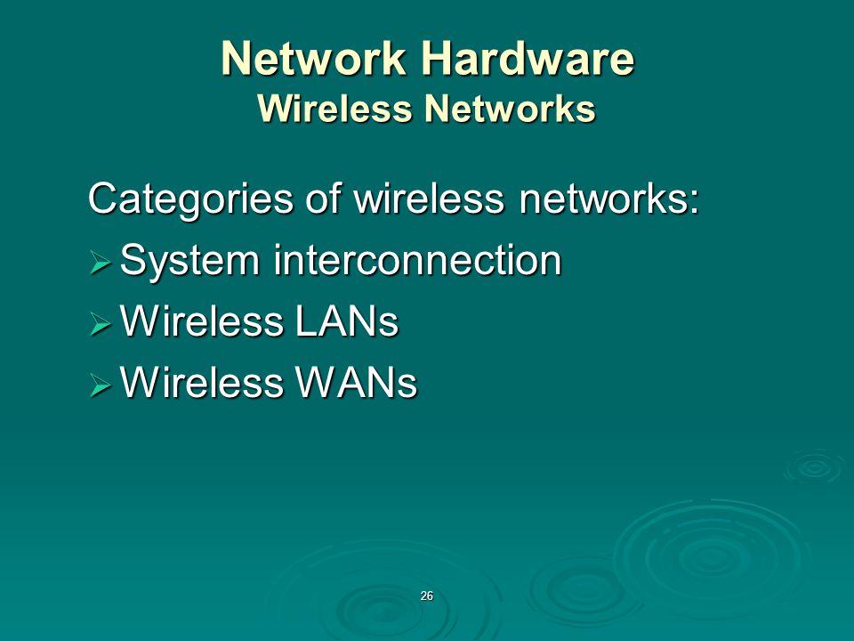 26 Network Hardware Wireless Networks Categories of wireless networks:  System interconnection  Wireless LANs  Wireless WANs
