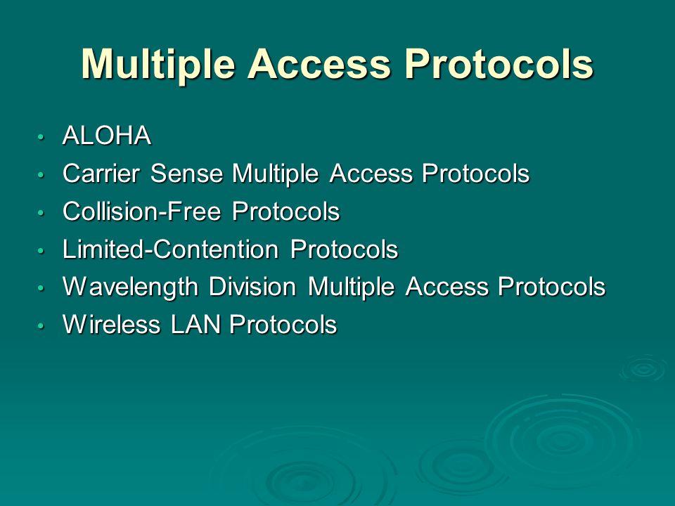 Multiple Access Protocols ALOHA ALOHA Carrier Sense Multiple Access Protocols Carrier Sense Multiple Access Protocols Collision-Free Protocols Collisi
