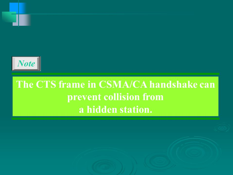 The CTS frame in CSMA/CA handshake can prevent collision from a hidden station. Note