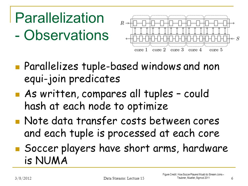 Scalability Data flow + point-to-point communication Add'l cores: larger window sizes or reduce workload per core directly turn any degree of parallelism into higher throughput or larger supported window sizes can trivially be scaled up to handle larger join windows, higher throughput rates, or more compute-intensive join predicates 3/8/2012 Data Streams: Lecture 15 7 Figure Credit: How Soccer Players Would do Stream Joins – Teubner, Mueller, Sigmod 2011