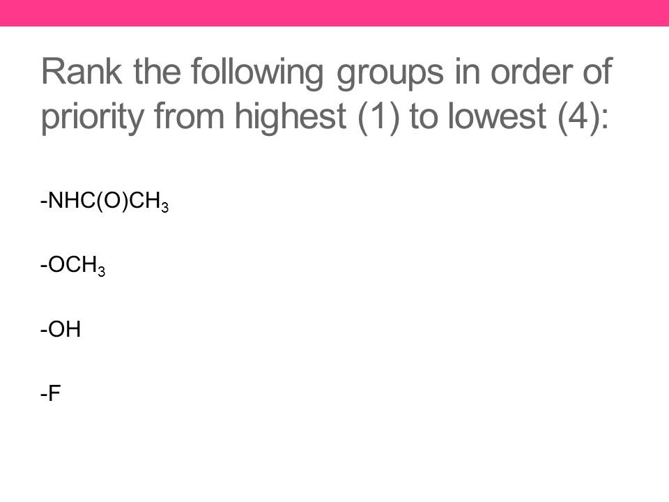 Rank the following groups in order of priority from highest (1) to lowest (4): -NHC(O)CH 3 -OCH 3 -OH -F