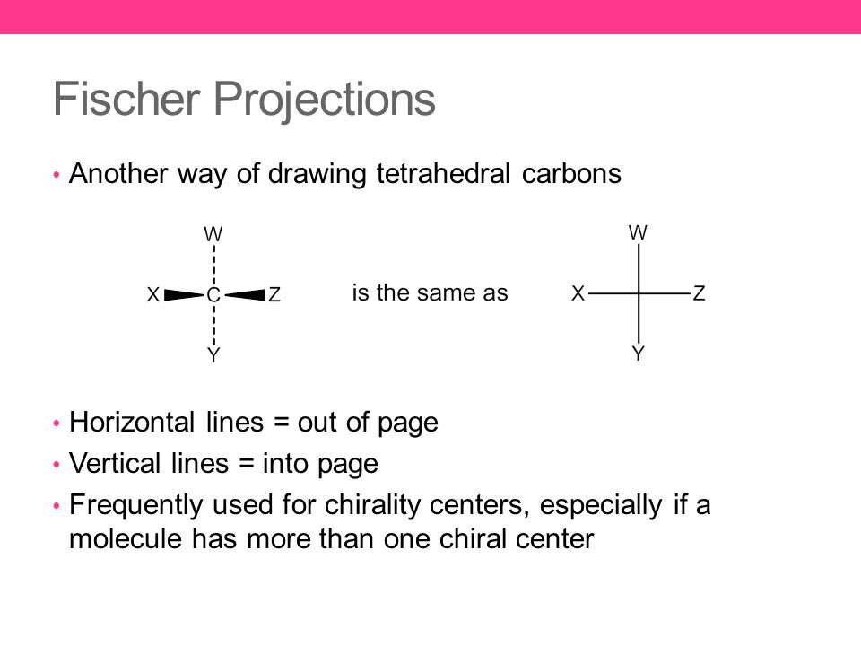 Fischer Projections Another way of drawing tetrahedral carbons Horizontal lines = out of page Vertical lines = into page Frequently used for chirality centers, especially if a molecule has more than one chiral center