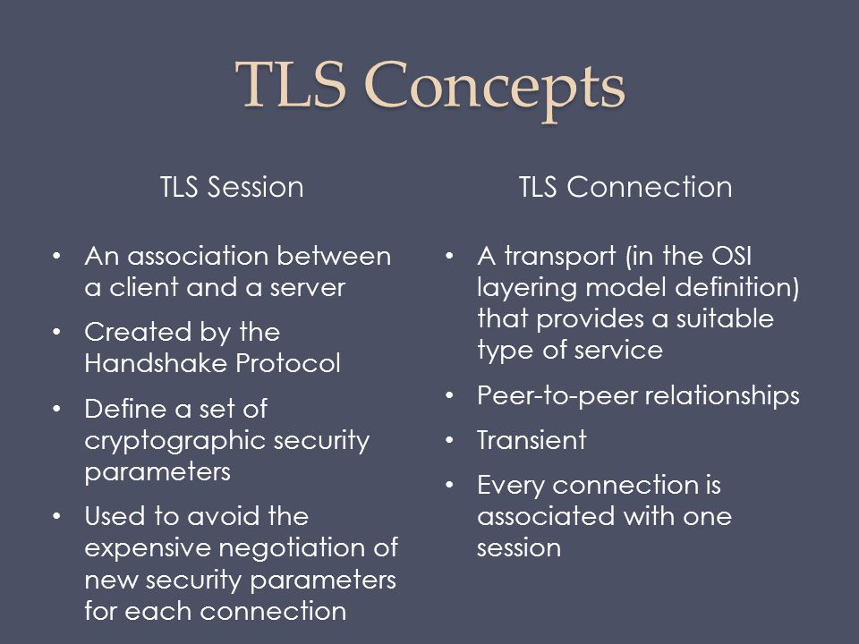 TLS Concepts TLS SessionTLS Connection An association between a client and a server Created by the Handshake Protocol Define a set of cryptographic se
